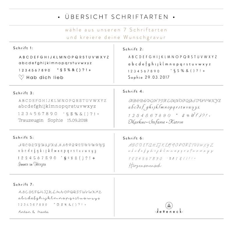 ketteneck schrift gravur wunschgravur schriftart schriften initialen symbole