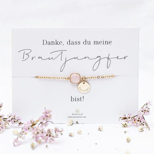 Armband mit Spruchkarte Danke, dass du meine Brautjungfer bist