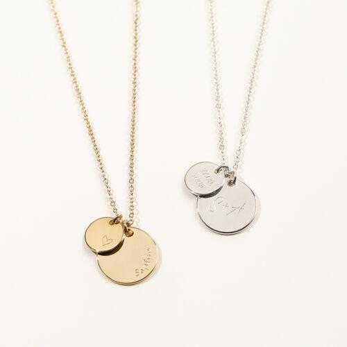 Personalisierte Halskette mit zwei runden Anhängern, 10mm und 15mm Durchmesser zum Gravieren