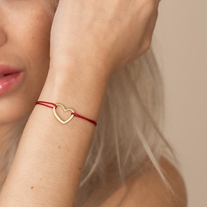 Armband mit Herz Symbol mittig auf Nylonband