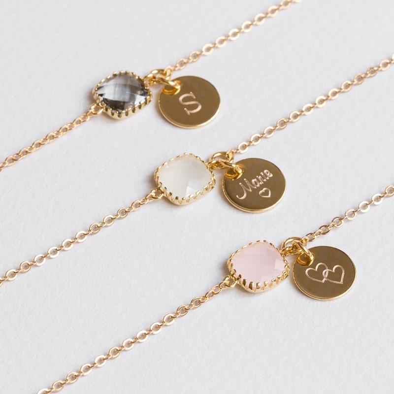 Armkette Emilia mit Gravur und Kristall