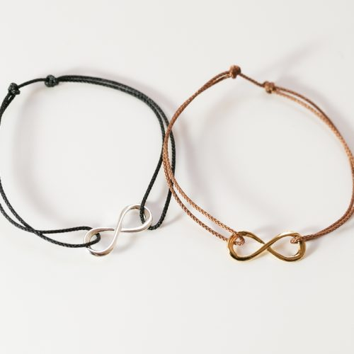 Geschenkidee für einen besonderen Menschen - Armband mit Infinity auf einem Nylonband, vergoldet oder versilbert
