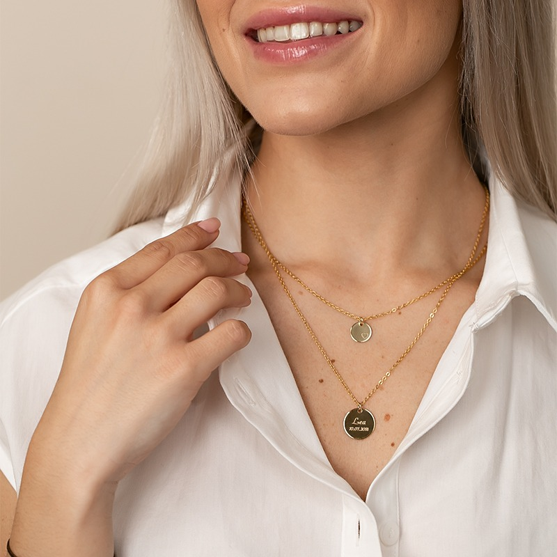 Halskette im Layered Stil Gold oder Silber personalisierbar