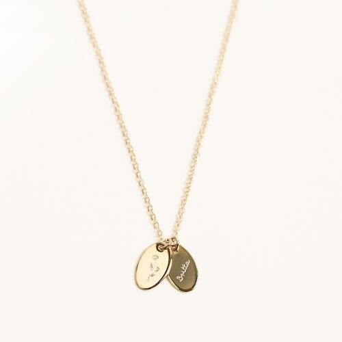 Gravuranhänger an einer zarten Kette Gold und Silber