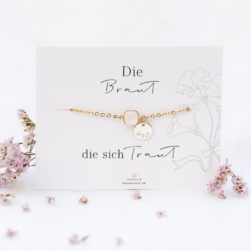 Armband mit Spruchkarte Die Braut die sich traut