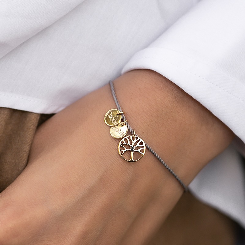 Armband mit gravierbaren Anhängern und Lebensbaum Symbol Anhänger