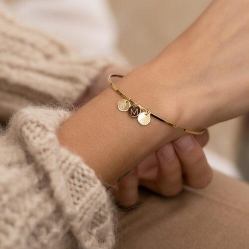 Armreif gold oder silber mit Gravurplatte deiner Wunschgravur