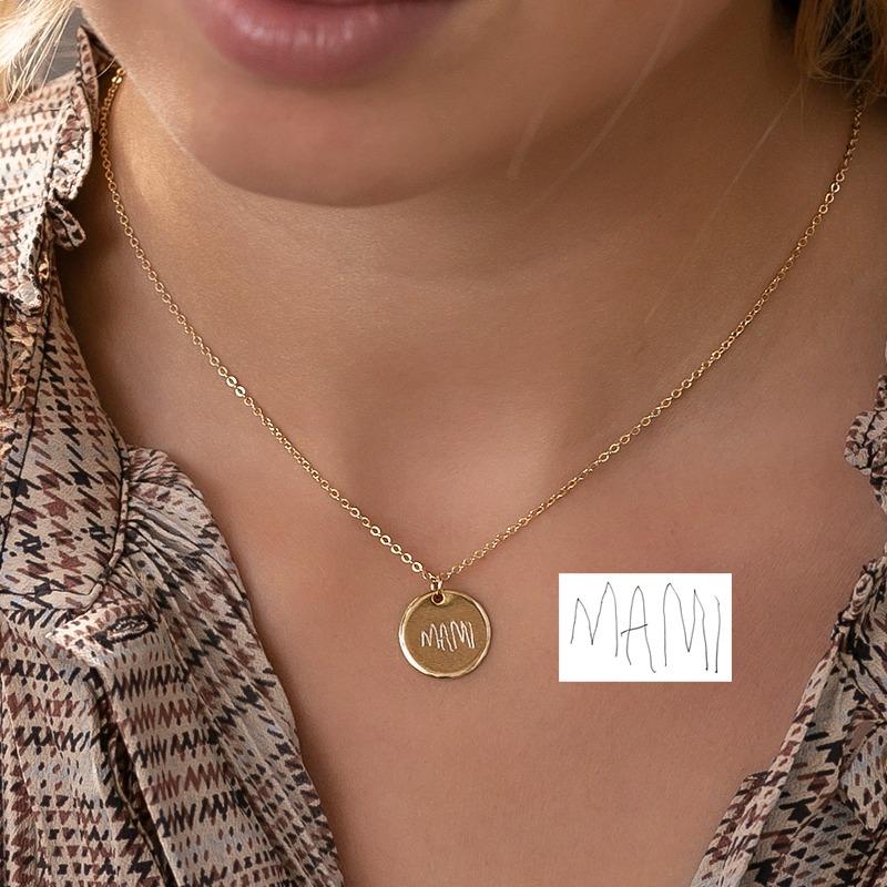Geschenkidee Halskette mit rundem 15mm Anhänger mit deiner Handschrift als Gravur, vergoldet oder versilbert