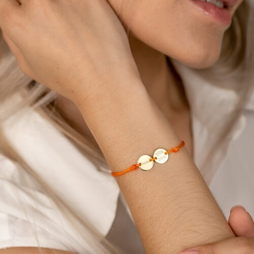 Armband mit Gravur und zwei personalisierten Platten