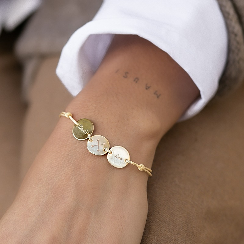 Armband mit Gravur drei personalisierten Platten