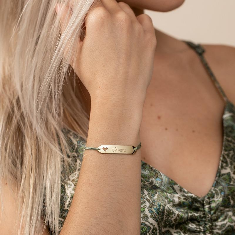 Armband mit Nylonkordel und Herzplatte zum Gravieren