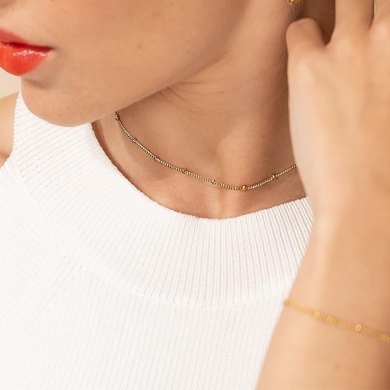 Kugelkette als Satellitenkette Halskette gold silber