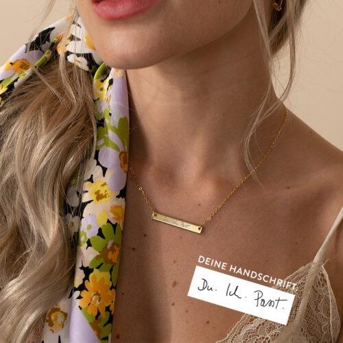 Halskette Barren mit Text gold silber