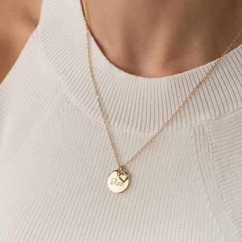 Halskette mit Herz und Gravur Anhänger