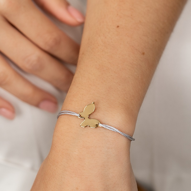 Kinderarmband mit schönem Schmetterling und Nylonkordel