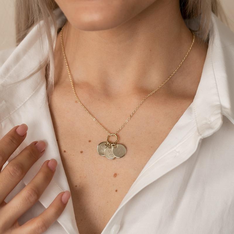 Halskette Gold mit drei Gravurplättchen rund